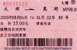 Bilet kolejowy wChinach