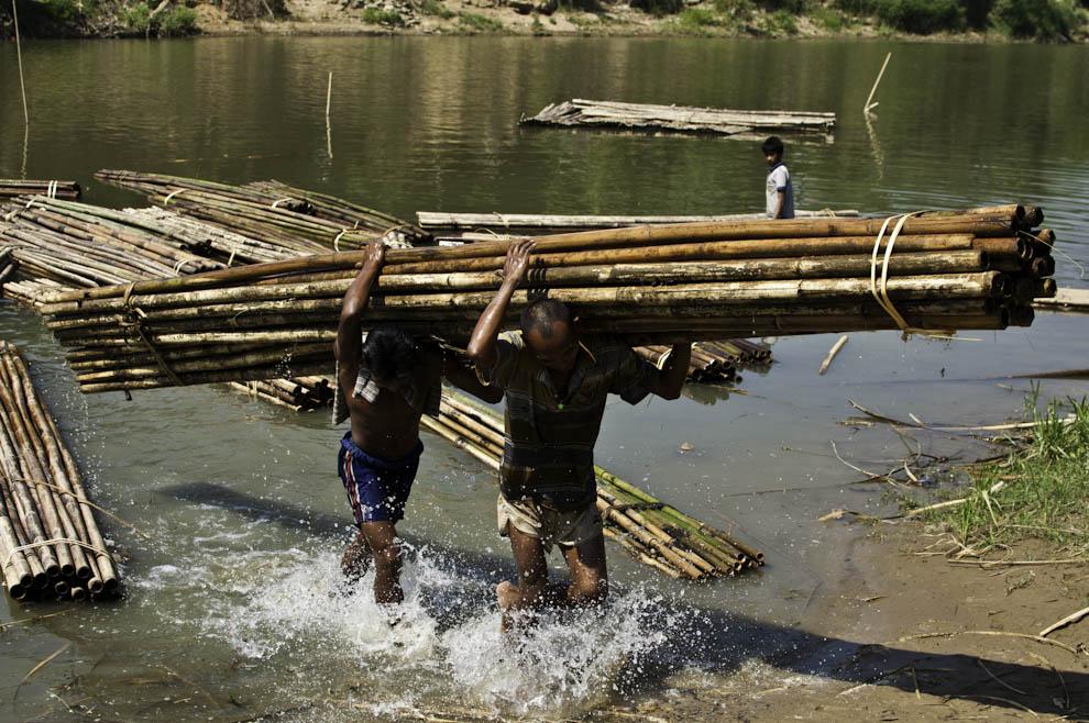 Spławianie rzeką bambusa
