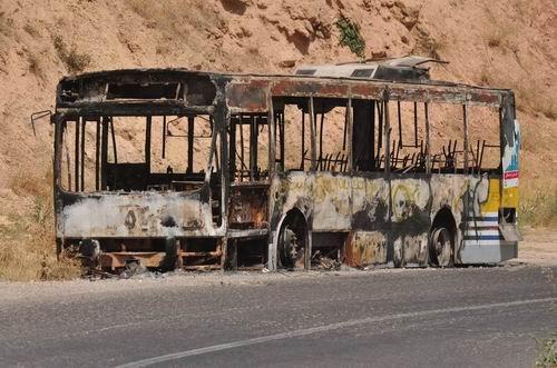 spalony autobus - Irak