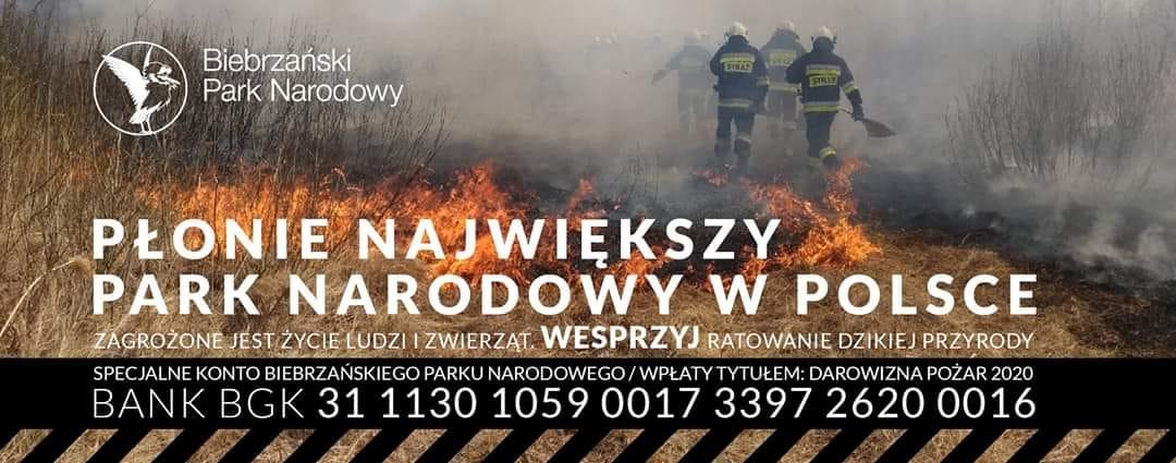 Pożar wBiebrzańskim PArku Narodowym - wesprzyj park darowizną