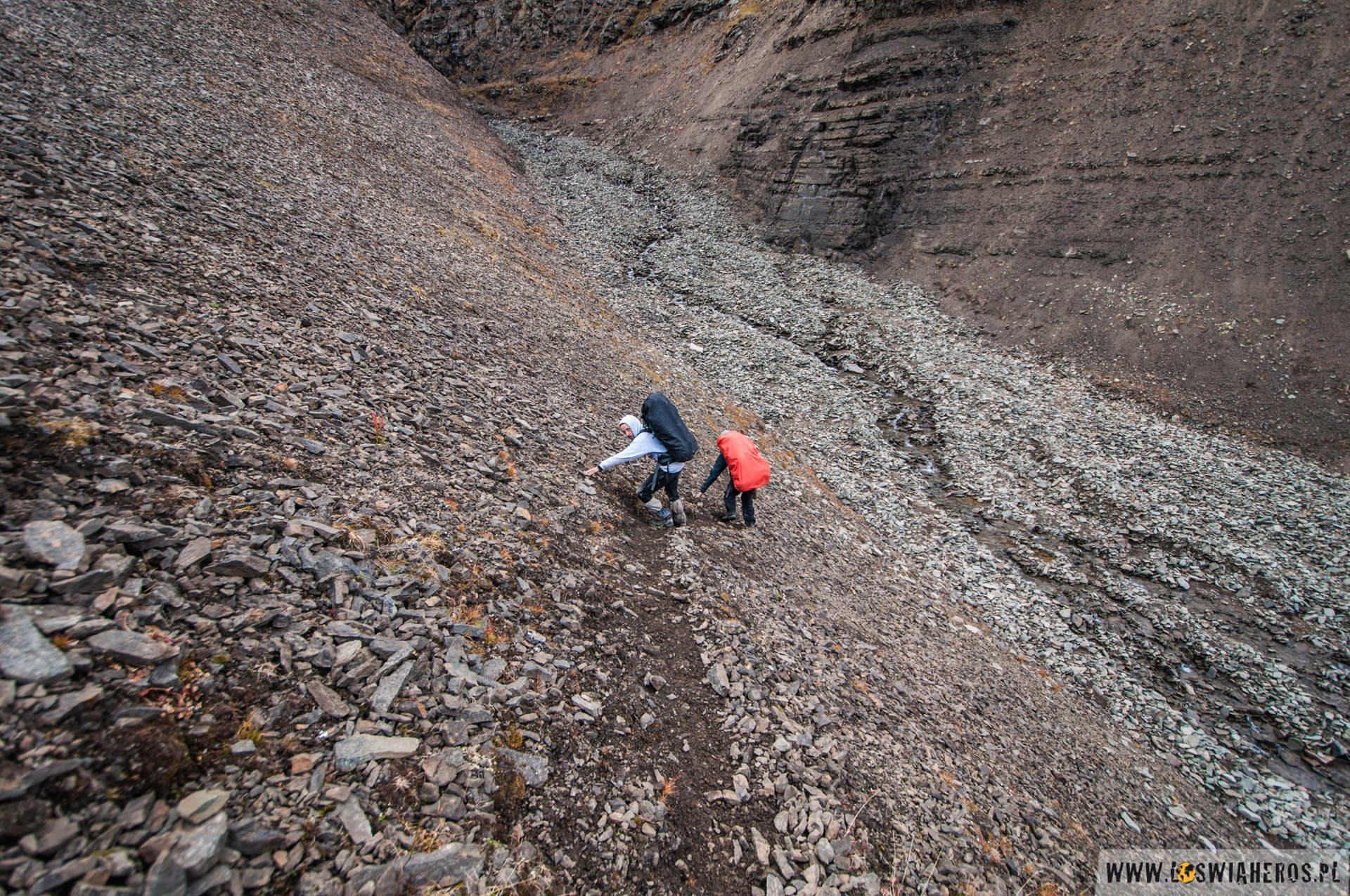 ... i choć to zdjęcie nie oddaje powagi sytuacji, to wiele razy zastanawialiśmy się jak iść dalej. Mapa i owszem, przydawała się, ale na Spitsbergenie teren zmienia się dość szybko i stare szlaki czasem warto opuścić i znaleźć wygodniejsze ścieżki.