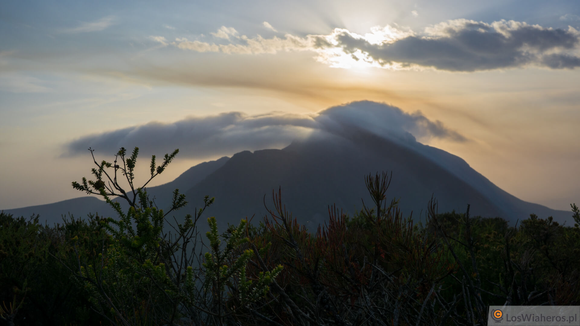 Zachód słońca widziany z Mt Hassell w Stirling National Park.
