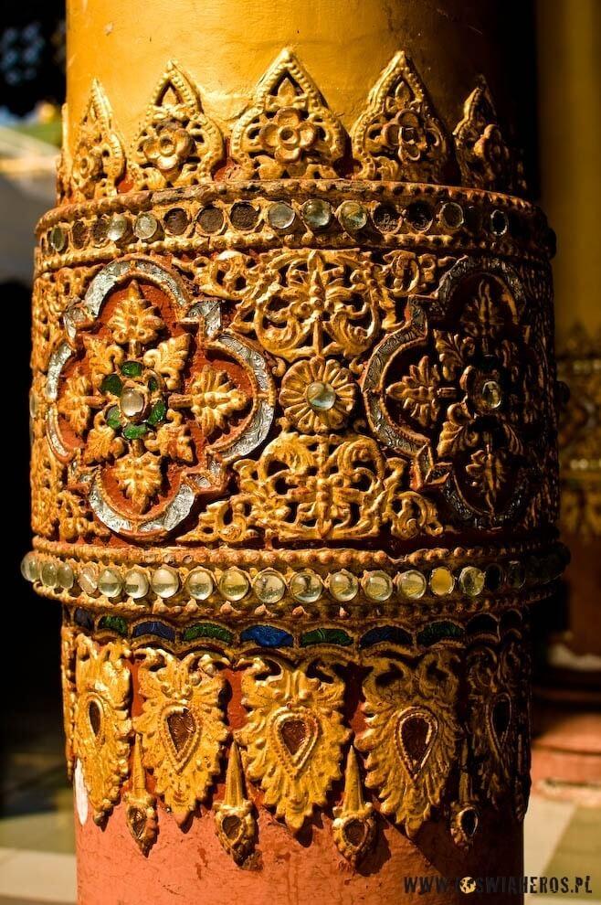Bogate zdobienia wShwedagon Pagoda, Birma.