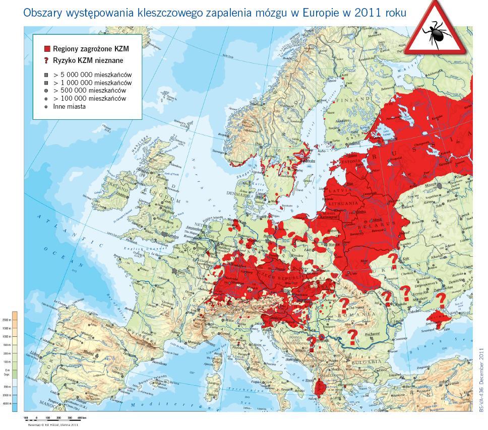 Mapa występowania kleszczy wEuropie, mapa: Fleishman-Hillard