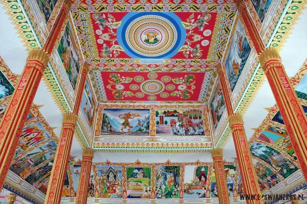 Kolorowe zdobienia laotańskich watów