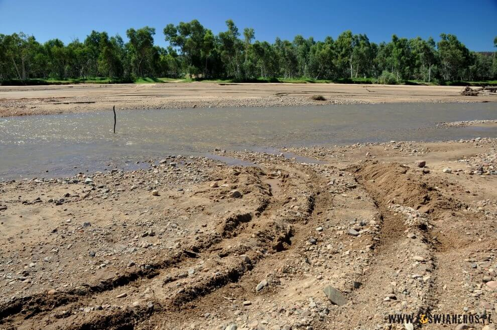 Przeorany terenówką brzeg rzeki.