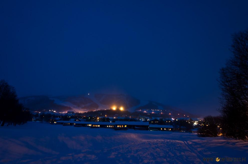Geilo nocą, Norwegia.