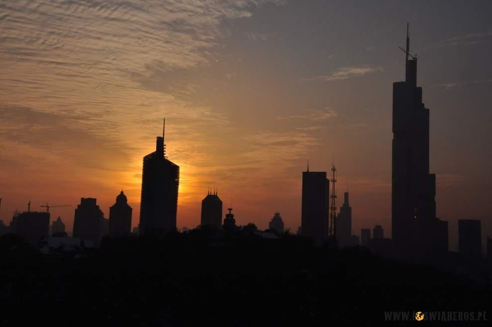 Widok zPagody nanowoczesną część Nanjing