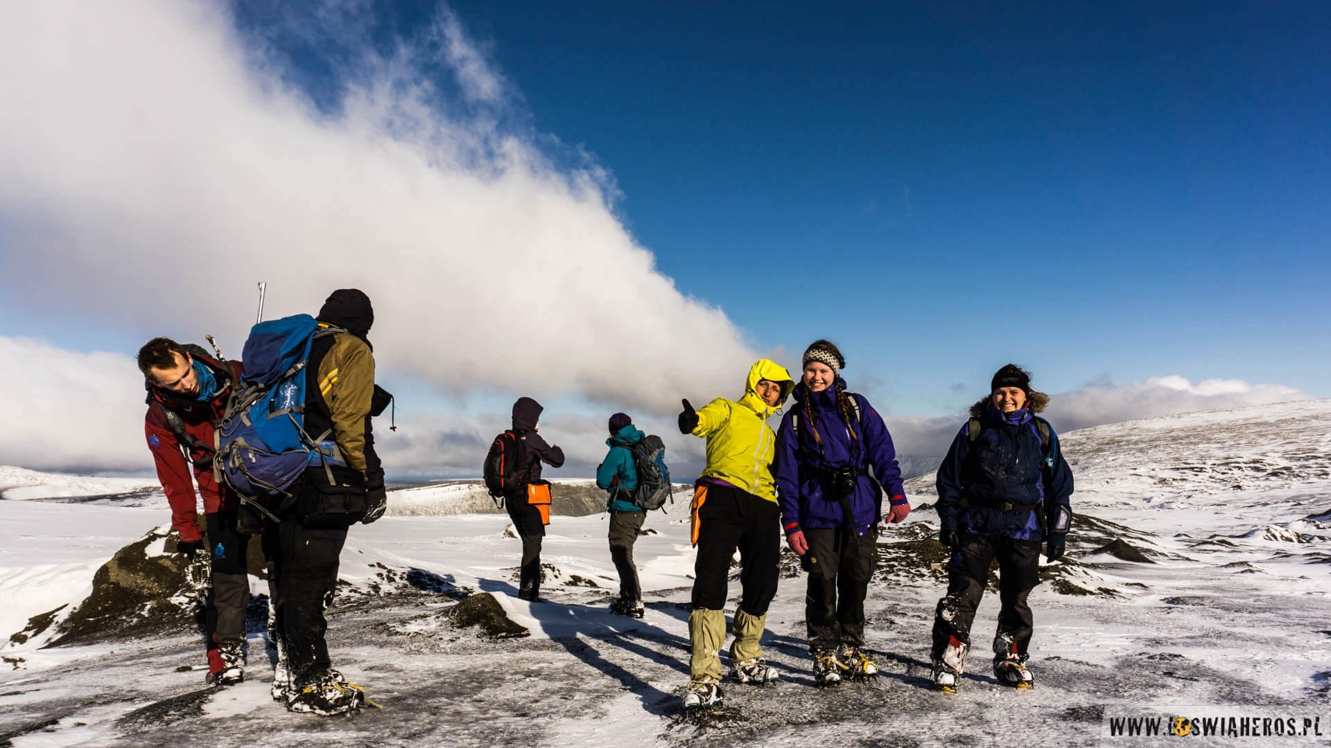 Podczas lodowcowego treku ze studentami z UNISu.