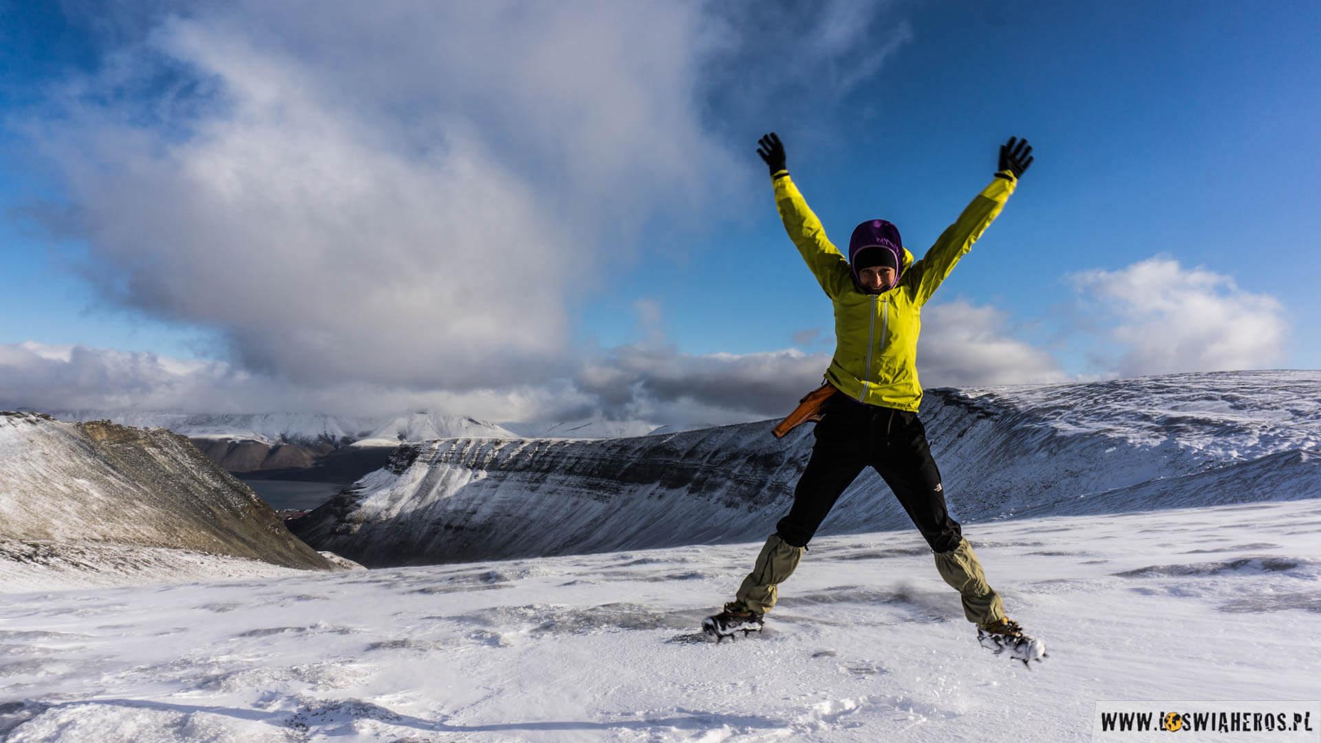 Radość na lodowcu Larsbreen.