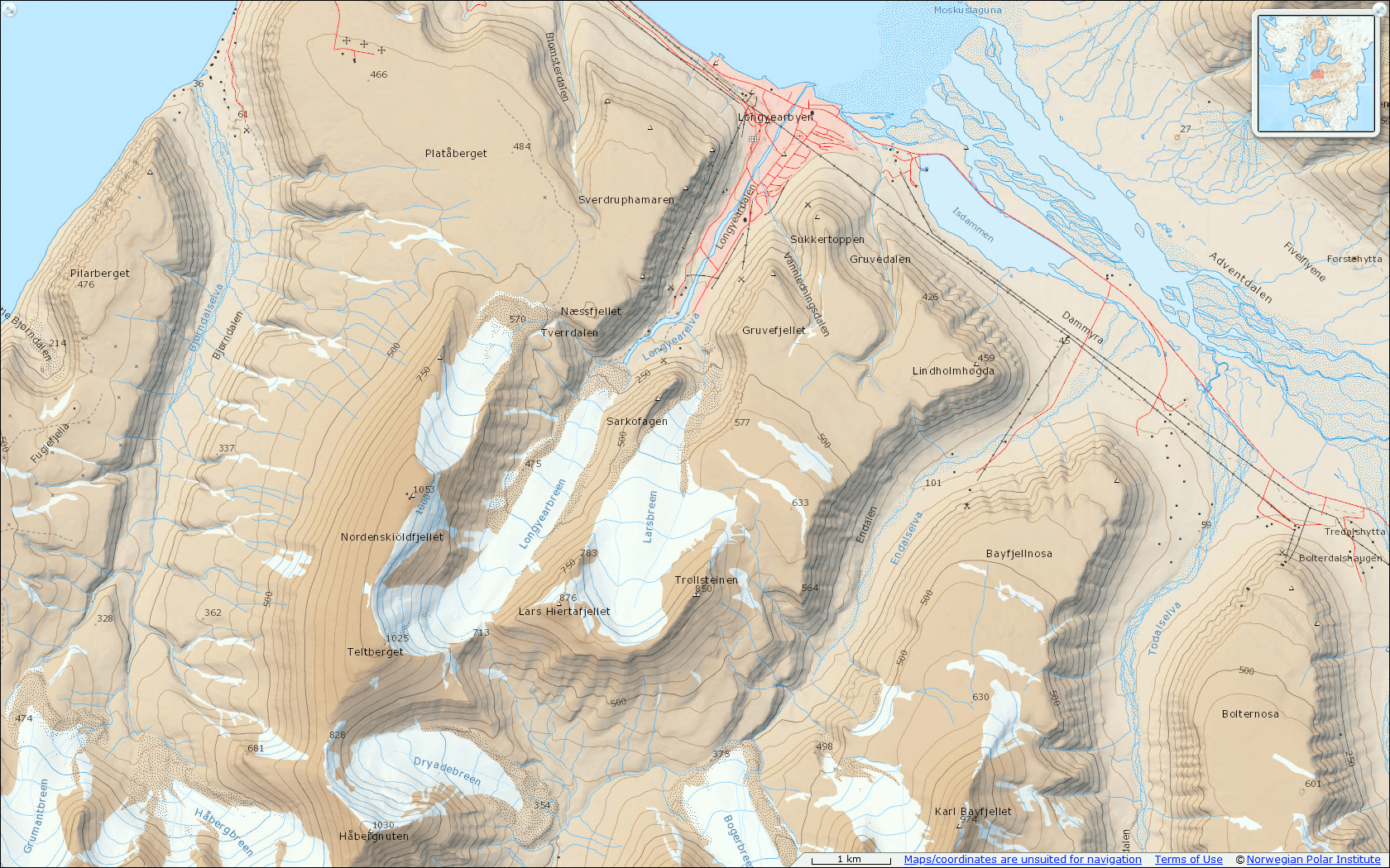 Zrzut okolicy Longyerbyen z serwisu: www.toposvalbard.npolar.no