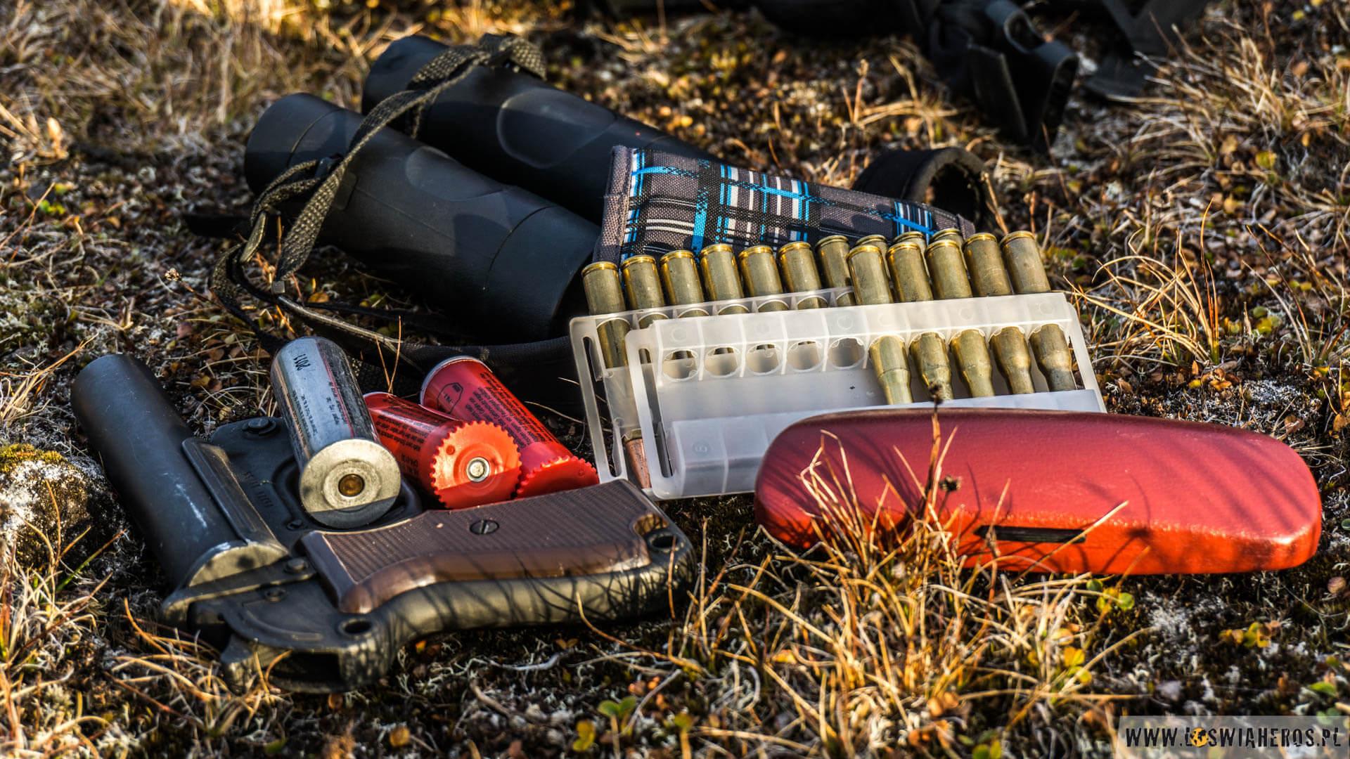 Pistolet sygnałowy oraz biały nabój hukowy. Czerwony to flara sygnałowa. Po prawo naboje do Mausera.