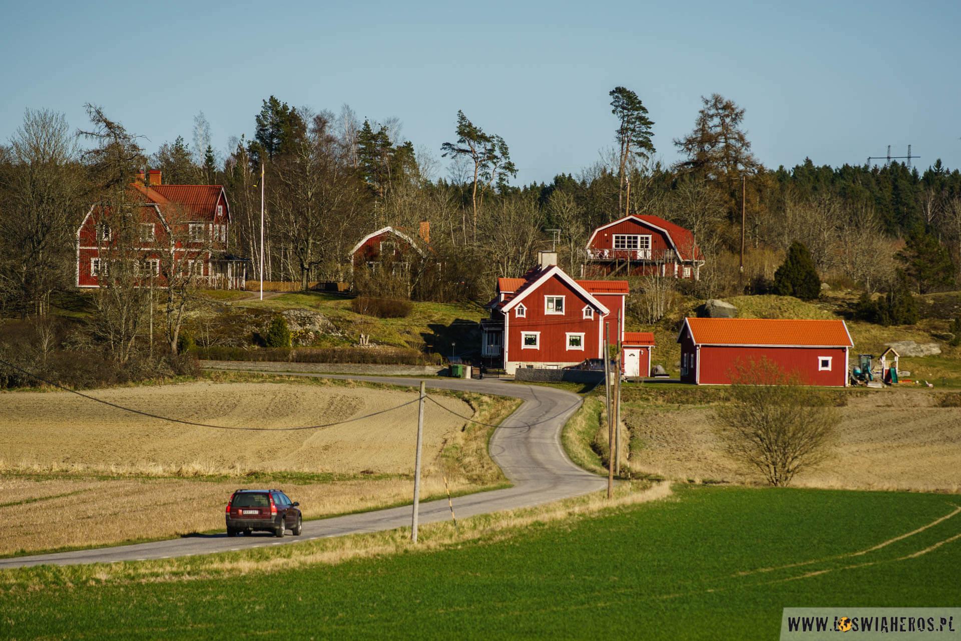 Klasyczny widoczek na szwedzkiej wsi - pagórek, kręta droga i czerwono białe domki.