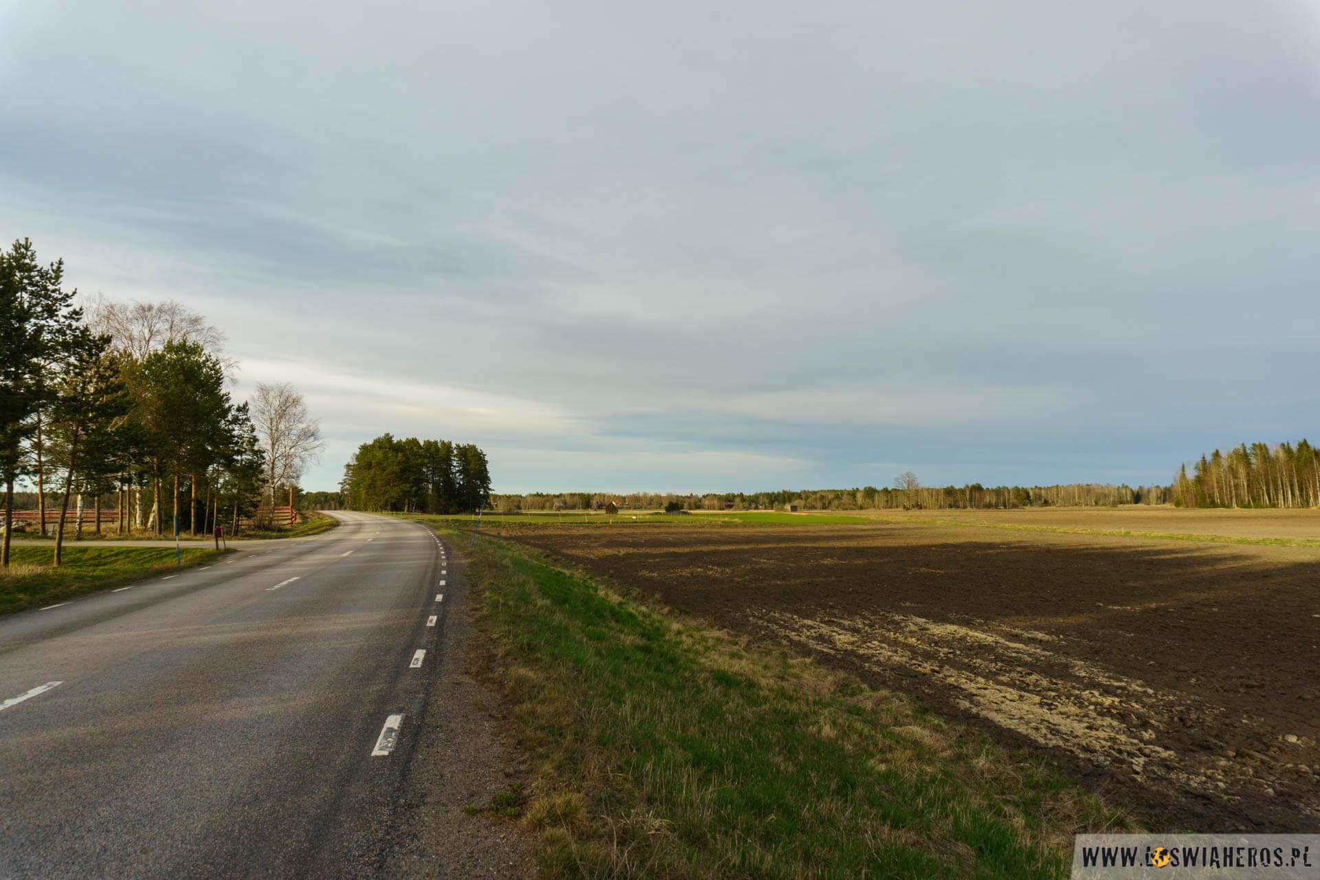 Płaskie, bardziej nudne tereny bliżej wschodniego wybrzeża Szwecji.