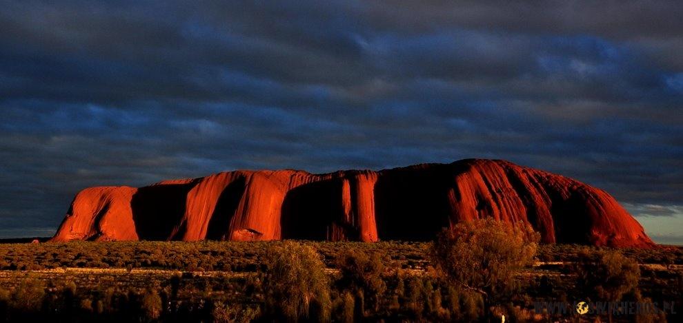 Jedna zwielu twarzy Uluru - późne popołudnie.