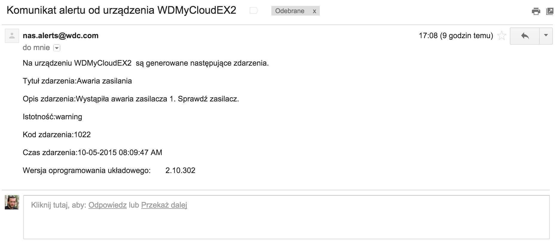 Moja domowa chmura pisze do mnie e-maile :D