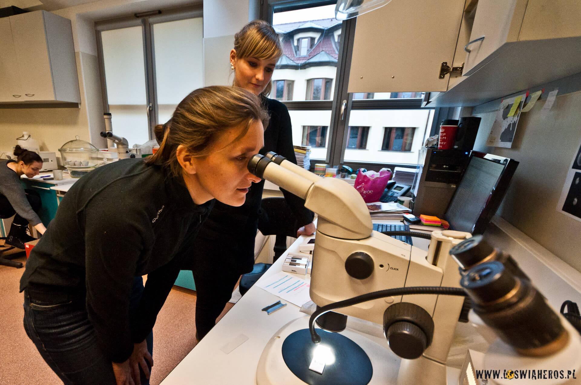 Alicja podbacznym okiem Magdy ogląda przezmikroskop materiał przywieziony wramach wypraw naukowych zpoprzednich lat.