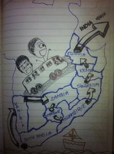 Mapka podróżna przezAfrykę autorstwa Agnieszk iEli,